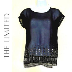 THE LIMITED Black Tee With Embroidery Trim, XS